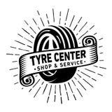 Monte pneus o centro, a loja e o molde do projeto do servi?o Logotipo do centro do pneu Vetor e ilustra??o ilustração do vetor