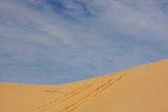 Monte pneus trilhas na duna de areia Imagens de Stock