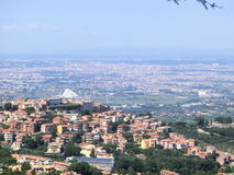 Monte Porzio Catone panorama In Castelli Romani. With Rome and St.Peter Church behind Royalty Free Stock Photo