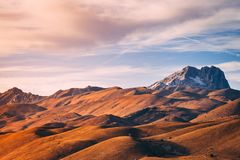 Monte Prena Afernoon. Afternoon light on the hills, Monte Prena overlooking the valley below Royalty Free Stock Images