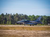 MONTE REAL, PORTUGAL-September 10: F16 Portuguese taking off. Pa royalty free stock photos