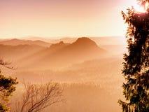 Monte rochoso acima do tempo frio do inverno inverso da névoa nas montanhas fotografia de stock royalty free