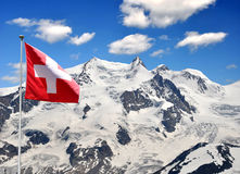 Monte Rosa. Beautiful mountain Monte Rosa with Swiss flag - Swiss Alps Stock Images