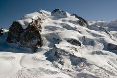 Monte Rosa. With Düfourspitze. View from Gornergrat Royalty Free Stock Photo