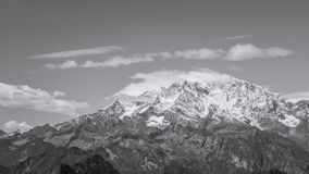 The Monte Rosa in black&white. Black&white view of the top of the famous mountain named Monte Rosa in the west of italian alps royalty free stock photos
