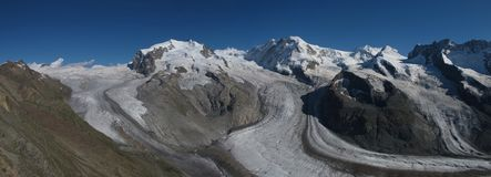 Monte Rosa and glacier Royalty Free Stock Photos