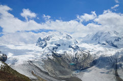 Monte Rosa - highest mountain of Swiss Alps Stock Image