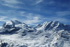 Monte rosa and lyskamm. Hdr monte rosa and lyskamm during winter Royalty Free Stock Photo
