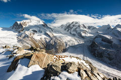 Monte Rosa and Lyskamm mountain panorama Stock Photo