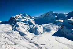 Monte Rosa and Lyskamm in Winter Royalty Free Stock Photography