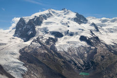 Monte Rosa. (4634m) in the Pennine Alps from Gornergrat, Switzerland Royalty Free Stock Photo