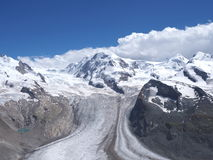 Monte Rosa massif in alpine mountain range seen from Gornergrat in Switzerland. Monte Rosa, landscape of alpine glacier and Dufourspitze highest mount in swiss Royalty Free Stock Photography