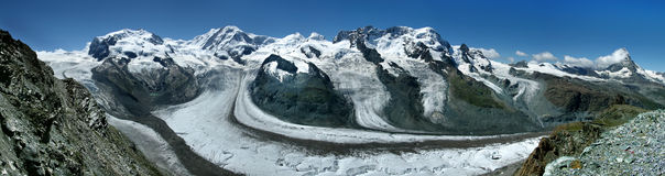 Monte Rosa and Matterhorn Stock Image