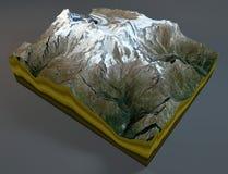 Monte Rosa, satellite view, Alps, Italy Royalty Free Stock Photos