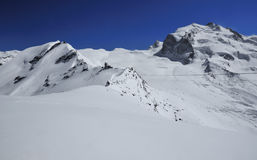 Monte Rosa and ski lifts Stock Photography