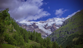 Monte Rosa summer landascape. Stunning horizontal view of the south side of Monte Rosa, Aosta Valley, Italy Royalty Free Stock Photo