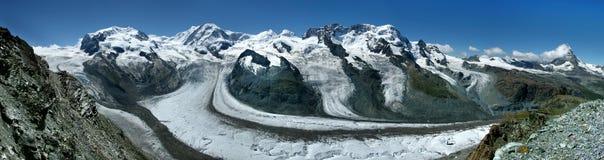 Monte Rosa und Matterhorn Stockbild