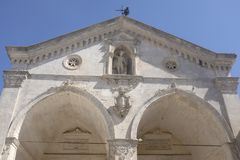 Monte San`Angelo: basilica of Sant Michele. Details of the facade of the Basilica of Saint Michele in Monte Sant`Angelo,Apulia,Italy Royalty Free Stock Photos