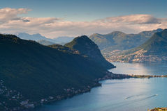 Monte San Salvatore and lake of Lugano stock photography