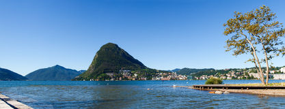 Monte San Salvatore and the mouth of the river Cas Royalty Free Stock Images