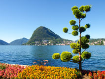 Monte San Salvatore seen from the park Royalty Free Stock Photography