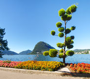 Monte San Salvatore seen from the park Stock Photography