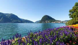 Monte San Salvatore seen from the park Royalty Free Stock Photos