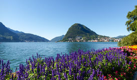 Monte San Salvatore seen from the park Stock Photos
