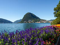 Monte San Salvatore seen from the park Royalty Free Stock Image