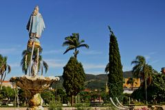 Square at little city in Brazil, Monte Siao-MG. Monte Siao/Minas Gerais/Brazil - 12-18-2016: Little city in Brazil, located in Minas Gerais State. Church was royalty free stock photos