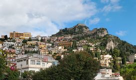 Monte Tauro with Saracen Castle in Taormina, Italy Royalty Free Stock Photo