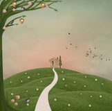 Monte verde em um estilo surreal ilustração do vetor