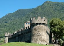 Montebello - Bellinzona. Montebello, one of three castles situated on the Alpine foothills - Bellinzona, Switzerland, 15 July 2008 Royalty Free Stock Photo