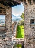 Montebello Castle of Bellinzona. View from Montebello Castle of town Bellinzona, Ticino, Switzerland Stock Photo