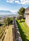 Montebello Castle of Bellinzona. View from Montebello Castle of town Bellinzona, Ticino, Switzerland Stock Images