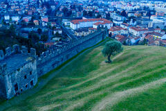 Montebello castle, in Bellinzona. View of the Montebello castle walls, and the city center, in Bellinzona, Ticino, Switzerland Royalty Free Stock Photography