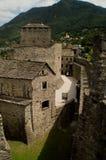 Montebello castle. View of the Montebello castle court (Bellinzona, Switzerland) from a defensive wall Stock Photography