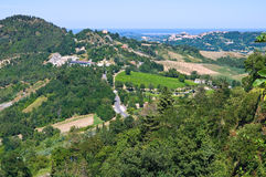 Montebello. Emilia- Romagna. Italy. View from castle of Montebello. Emilia- Romagna. Italy Royalty Free Stock Images