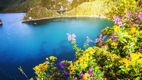 Montebello lakes of National Park in Chiapas, Mexico. Lagoons are famous for their striking colors, they attract many tourists for swimming and kayaking Stock Photo