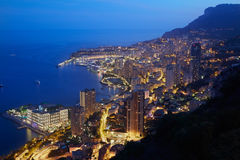 Montecarlo, illuminated city view in the evening, Monaco Royalty Free Stock Photography