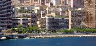 Montecarlo view. View of Monaco city from sea (montecarlo royalty free stock photography