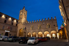 Montecassiano in Italy. Night shot of the Palazzo dei Priori in the medieval town of Montecassiano. Marche Region, Italy Royalty Free Stock Photo