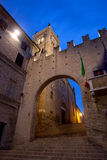 Montecassiano in Italy. Night shot of the medieval town of Montecassiano. Marche Region, Italy Royalty Free Stock Photos