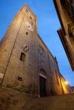 Montecassiano in Italy. Night shot of the church Colleggiata di S.Maria Assunta. Medieval town of Montecassiano. Marche region, Italy Stock Photos