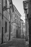 Montecassiano Macerata, Marches, Italy, historic town. Montecassiano Macerata, Marches, Italy, old buildings in the historic town. Black and white Stock Photos