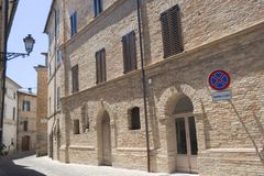 Montecassiano Macerata, Marches, Italy, historic town. Montecassiano Macerata, Marches, Italy, old buildings in the historic town Stock Images