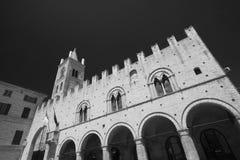 Montecassiano Macerata, Marches, Italy, historic town. Montecassiano Macerata, Marches, Italy, old buildings in the historic town. Palazzo dei Priori. Black and Stock Photos