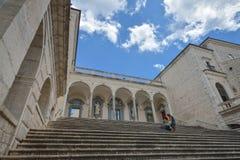 Montecassino,意大利- 2016年6月01日:修道院的内部Montecassino的,意大利 免版税库存照片