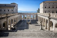Montecassino Abbey. Lazio, Italy. Montecassino, ITALY: Interior of the Abbey at Montecassino, The abbey was destroyed by bombing in second World War and rebuilt royalty free stock image