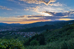 Montecatini Alto near Florence is a good viewpoint toward west Tuscany Royalty Free Stock Photos